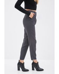 Forever 21 - Gray High-waisted Crepe Pants - Lyst