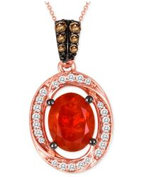 Le Vian | Red Fire Opal (9/10 Ct. T.w.) And Diamond (1/4 Ct. T.w.) Pendant Necklace In 14k Rose Gold | Lyst