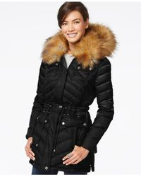 Laundry by Shelli Segal | Black Faux-fur-trim Puffer Coat | Lyst