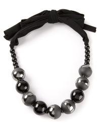 Armani - Black Beaded Necklace - Lyst