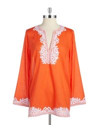MICHAEL Michael Kors | Orange Embroidered Peasant Top | Lyst