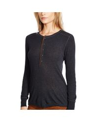 Polo Ralph Lauren | Black Suede-trim Ribbed Henley | Lyst