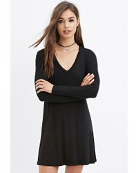 Forever 21 - Black V-neck Dress - Lyst