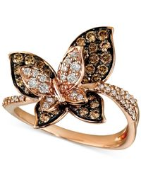 Le Vian | Brown Chocolate And White Diamond Butterfly Ring (7/8 Ct. T.w.) In 14k Gold | Lyst