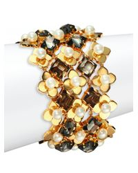 Tory Burch | Metallic Babylon Faux Pearl Mesh Bracelet | Lyst