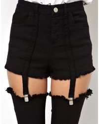 ASOS - Black High Waisted Pants with Suspender Detail - Lyst