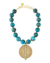 Nest | Blue Chunky Turquoise Jasper Beaded Pendant Necklace | Lyst