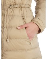Armani Jeans - Natural Long Light Weight Down Padded Coat With Hood - Lyst