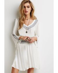 Forever 21 | Natural Embroidered Gauze Peasant Dress You've Been Added To The Waitlist | Lyst