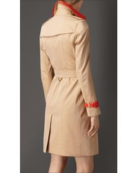 Burberry | Natural Patent Leather Detail Gabardine Trench Coat | Lyst