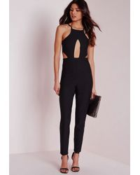 Missguided | Keyhole Cut Out Waist Jumpsuit Black | Lyst
