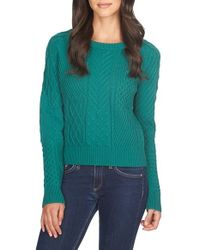 1.STATE | Green Crewneck Knit Sweater | Lyst