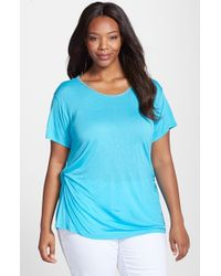 Ellen Tracy | Blue Beaded Neck Side Twist Tee | Lyst