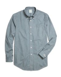 Brooks Brothers | Blue Madison Fit Heathered Gingham Sport Shirt for Men | Lyst