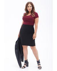 Forever 21 - Black Plus Size Matelassã© Pencil Skirt - Lyst