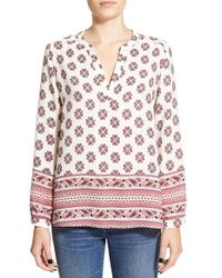 Lush | Red Mixed Print Peasant Top | Lyst