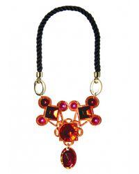 Matthew Williamson | Red Orange Jewelled Crescent Necklace | Lyst