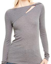 DKNY | Gray Jeans Keyhole Twist Top | Lyst