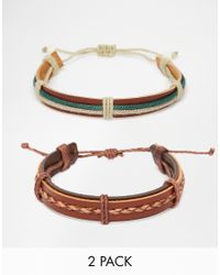 ASOS | Leather Bracelet Pack In Brown And Green for Men | Lyst