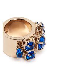 Valentino - Blue Rhinestone Ring - Lyst