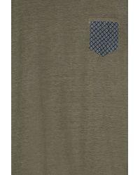 120% Lino - Green Print Pocket Crew Nk T Shirt for Men - Lyst