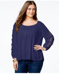 Soprano - Blue Plus Size Crochet-trim Top - Lyst