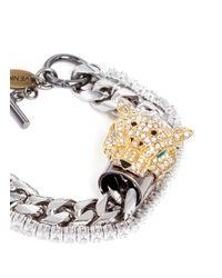 Venna | Metallic Crystal Jaguar Head Curb Chain Bracelet | Lyst
