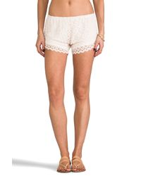 Tylie - White Crochet Shorts - Lyst