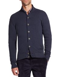 Saks Fifth Avenue | Blue Pima Cotton Knit Cardigan for Men | Lyst