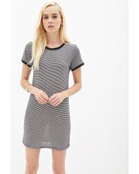 43d4a2bda3 Forever 21 Striped T-Shirt Dress in Black - Lyst