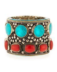Devon Leigh - Blue Turquoise & Coral Brass Cuff Bracelet - Lyst
