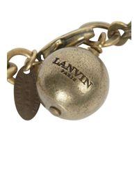 Lanvin - Metallic Gold Tone Kiss Necklace - Lyst