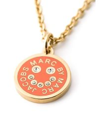 Marc By Marc Jacobs | Orange Enamel Disc Pendant Necklace | Lyst