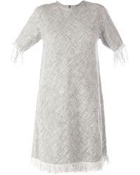 T By Alexander Wang - Gray Frayed Burlap Dress - Lyst