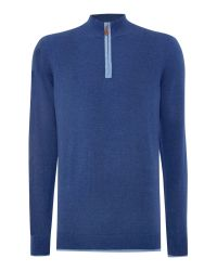 Chester Barrie | Blue Plain Half Zip Neck Zip Fastening Jumper for Men | Lyst