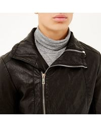 River Island - Black Leather-look Biker Jacket for Men - Lyst
