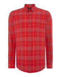 Duck and Cover - Red Cleef Long Sleeve Check Shirt for Men - Lyst