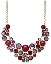 INC International Concepts - Gold-tone Purple Multi-circle Bib Necklace - Lyst