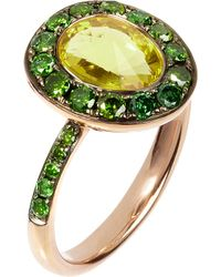Annoushka | Dusty Diamonds 18ct Rose-gold, Olive Quartz And Green Diamond Ring | Lyst