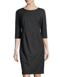 Lafayette 148 New York | Black Abella Three-quarter-sleeve Shift Dress | Lyst