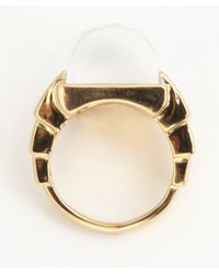 Rachel Zoe - Metallic Crystal and Gold Faceted Deco Ring - Lyst