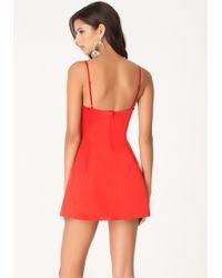 Bebe - Red V-Neck Satin Slip Dress - Lyst