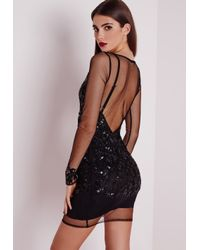 Missguided | Premium Embellished Long Sleeve Mesh Bodycon Dress Black | Lyst