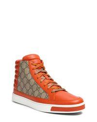 Gucci - Orange 'common' High-top Sneaker for Men - Lyst