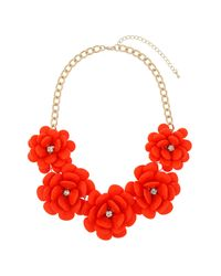 TOPSHOP | Red Large Coral Flower Necklace | Lyst