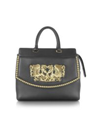 Roberto Cavalli - Aphrodite Jewel Goldtone With Studs And Black Leather Tote - Lyst