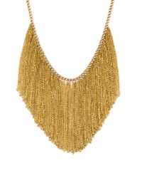 AKIRA | Metallic Fringe Benefits Gold Necklace | Lyst