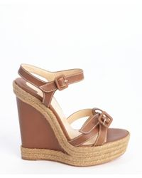 christian louboutin cognac leather sandals