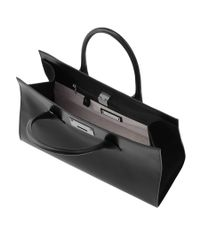 Jimmy Choo - Riley Black Smooth Leather With Shimmer Suede Tote Bag - Lyst
