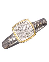Effy | Metallic Balissima Sterling Silver And 18kt. Yellow Gold Pave Diamond Ring | Lyst